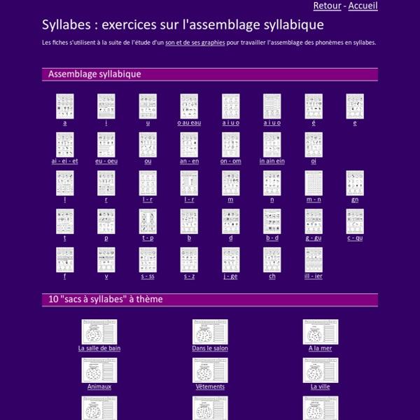 Exercices sur les syllabes GS CP CE1
