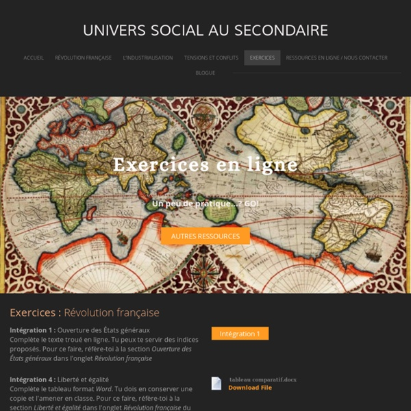 Exercices - Univers social au secondaire