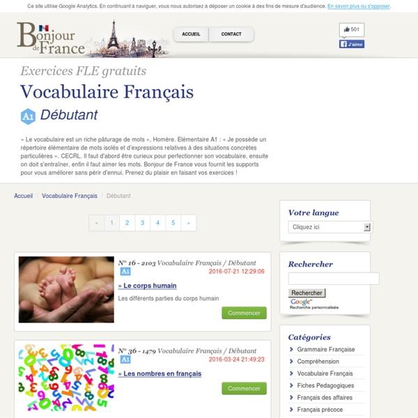 Cours et exercices de vocabulaire français : niveau débutant A1