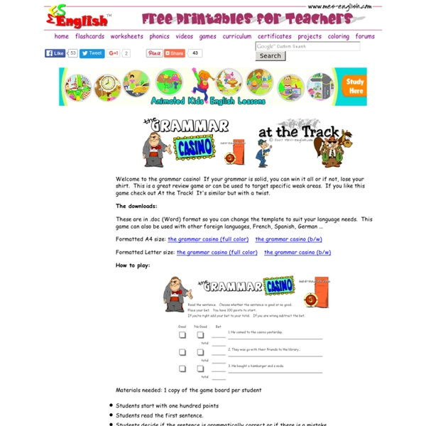 An ESL exercise to test grammar in a fun activity, editable game template