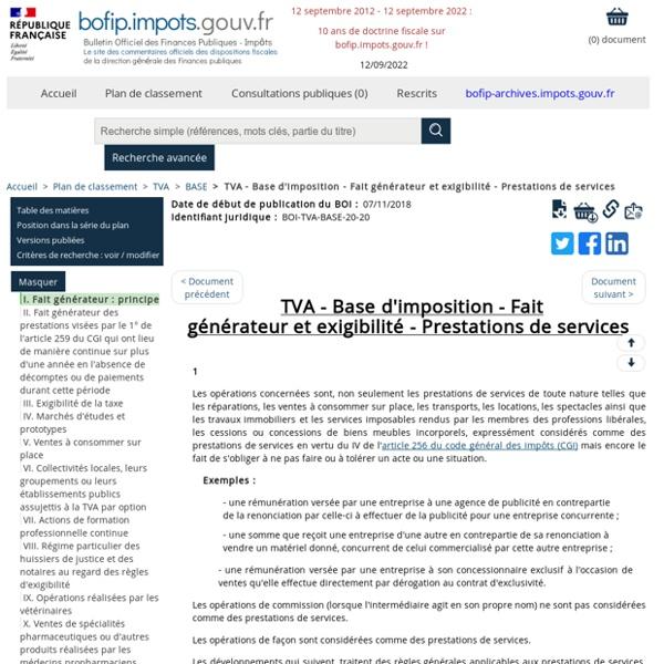 TVA - Base d'imposition - Fait générateur et exigibilité - Prestations de services
