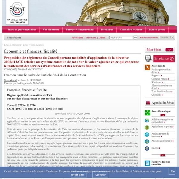 Règles d'exonération de la TVA applicable aux services d'assurance et aux services financiers (règlement)