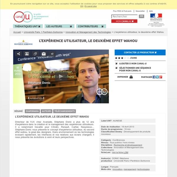 L'expérience utilisateur, le deuxième effet Wahou - Université Paris 1 Panthéon-Sorbonne