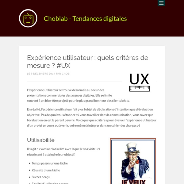 Expérience utilisateur : quels critères de mesure ? #UX