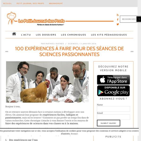 100 expériences à faire pour des séances de sciences passionnantes