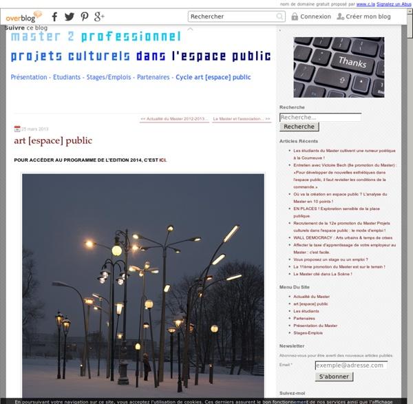 Art [espace]public, un cycle de rencontres-débats et d'expériences singulières, du 18 janvier au 16 mars 2012