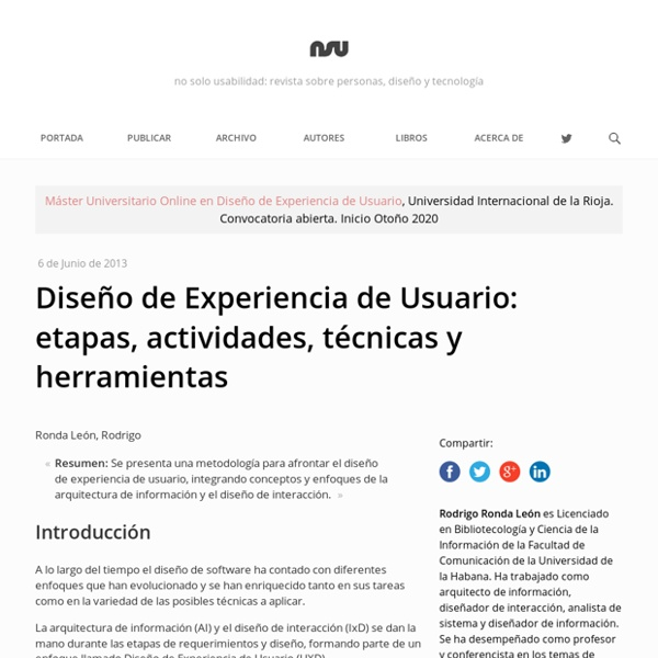 Diseño de Experiencia de Usuario: etapas, actividades, técnicas y herramientas