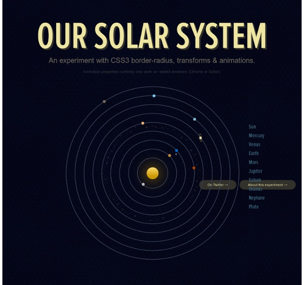Our Solar System — An experiment with CSS3 border-radius, transforms & animations.