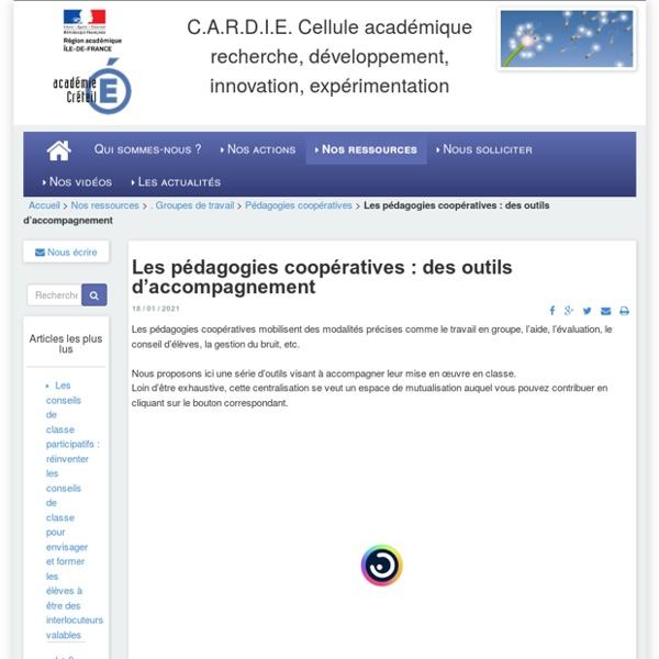 C.A.R.D.I.E. Cellule académique recherche, développement, innovation, expérimentation - Les pédagogies coopératives : des outils d'accompagnement