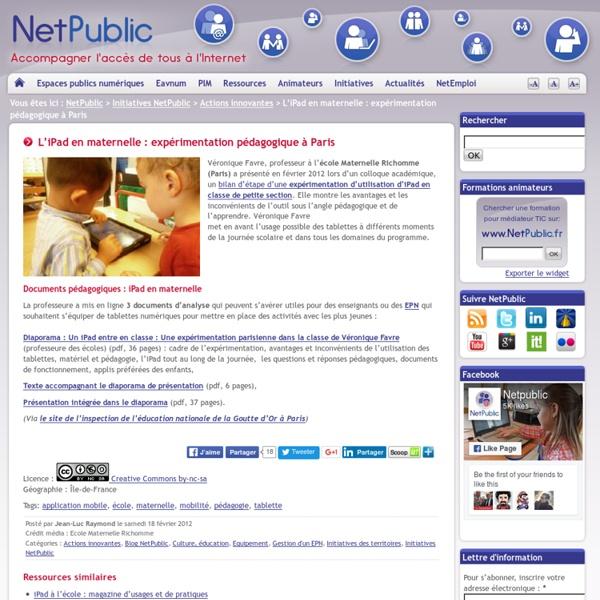 L'iPad en maternelle : expérimentation pédagogique à Paris