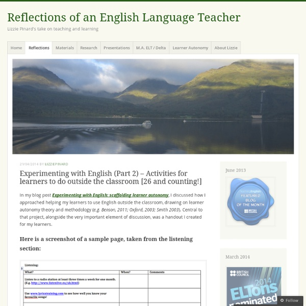 Experimenting with English (Part 2) – Activities for learners to do outside the classroom [26 and counting!]