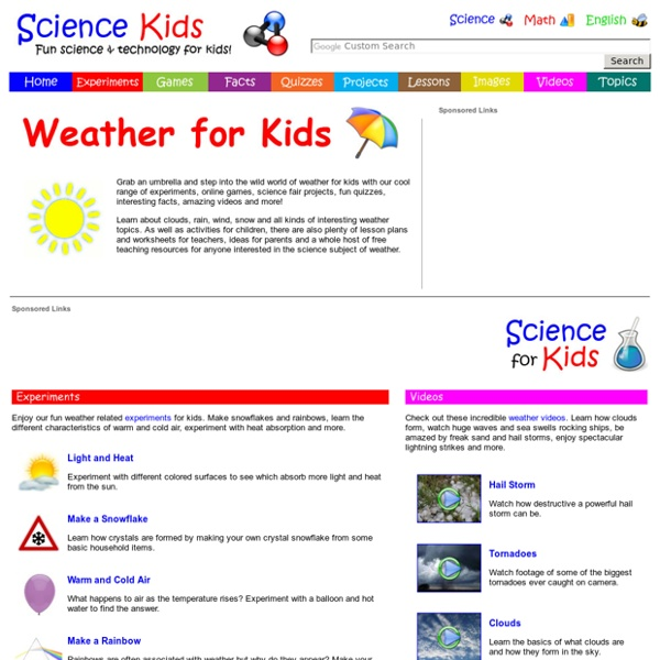 Weather for Kids - Free Games, Experiments, Projects, Activities, Science Online