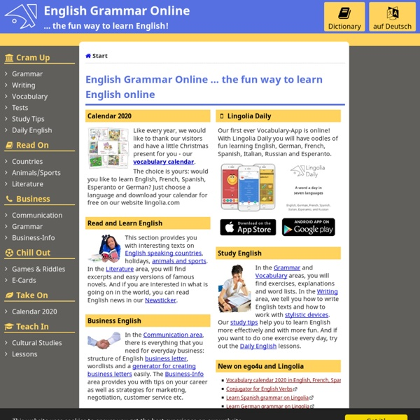 English Grammar Online - free exercises, explanations, vocabulary, dictionary and teaching materials