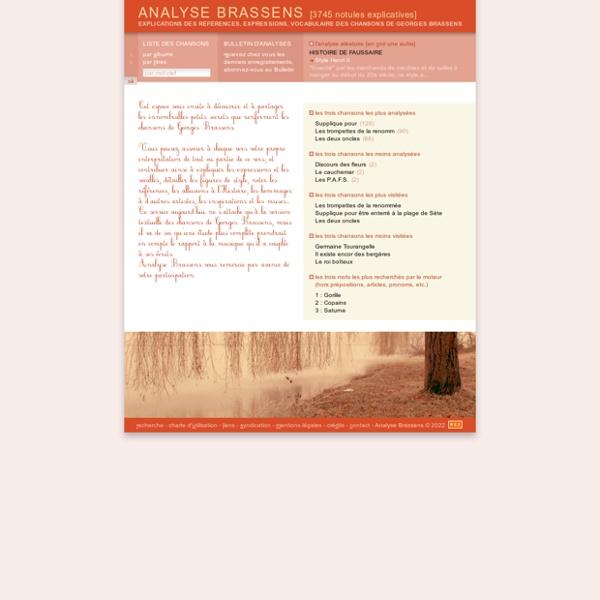 ANALYSE BRASSENS : explications des références, expressions, vocabulaire, de Georges Brassens