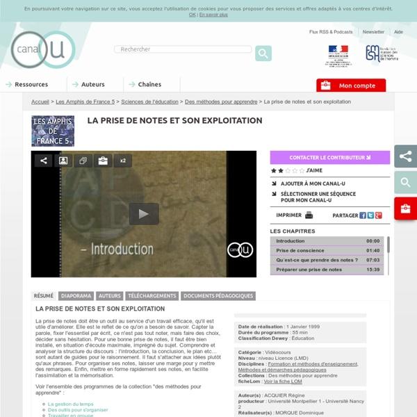 La prise de notes et son exploitation - Les Amphis de France 5