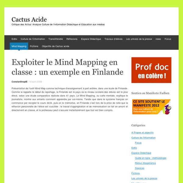 Exploiter le Mind Mapping en classe : un exemple en Finlande