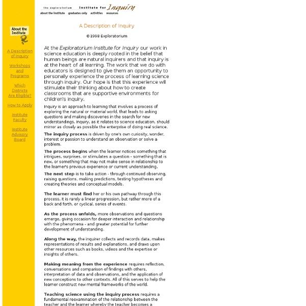 Institute for Inquiry: A Description of Inquiry