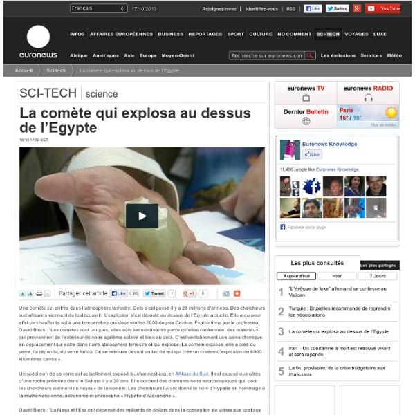 28 000 BP : La comète qui explosa au dessus de l'Egypte