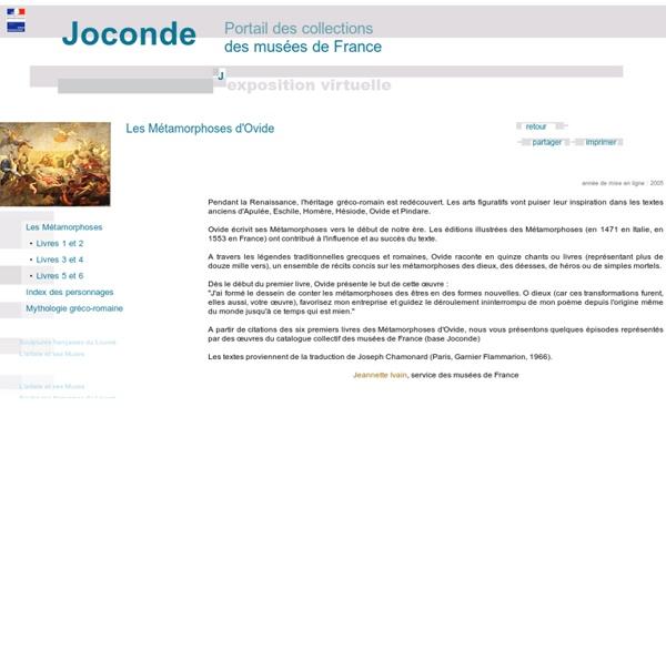 Joconde - visites guidées - expositions virtuelles - les métamorphoses d'Ovide