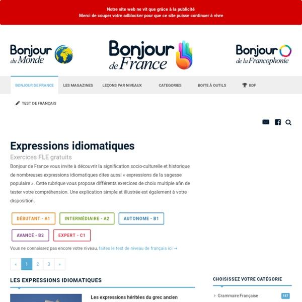 Les expressions idiomatiques - Cours et exercices de Francais