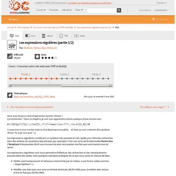 Tuto REGEX (site du zéro)