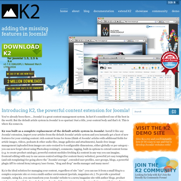The powerful content extension for Joomla! developed by JoomlaWorks