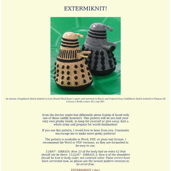 EXTERMIKNIT! Dalek Knitting Pattern