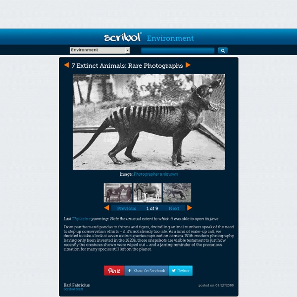 Rare Photographs of Extinct Animals