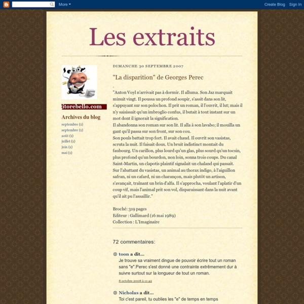"""Les extraits: """"La disparition"""" de Georges Perec"""