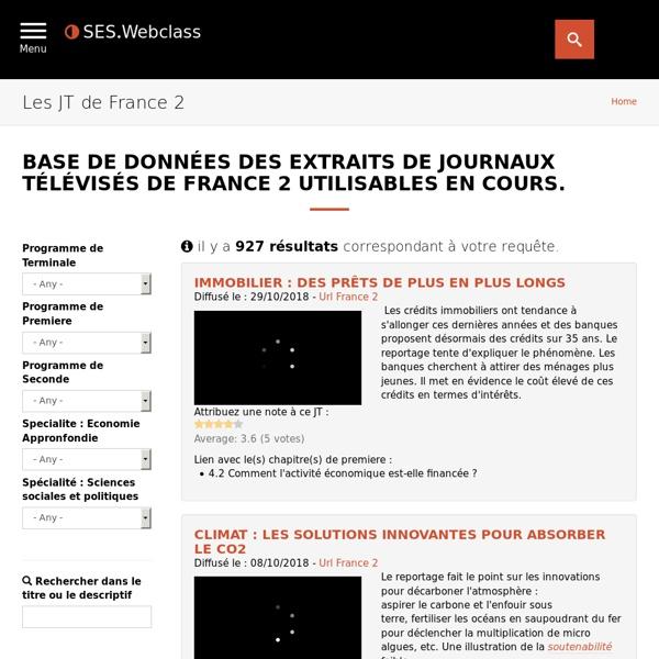 Base de données des extraits de journaux télévisés de France 2 utilisables en cours.