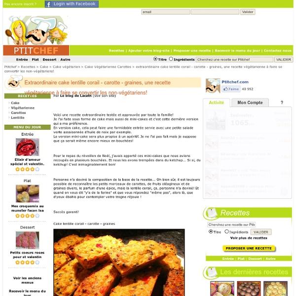 Cake lentilles corail-carotte