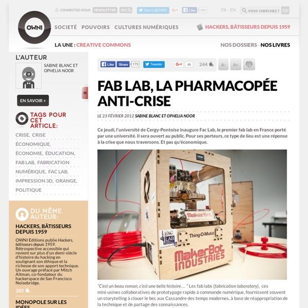 Fab Lab, la pharmacopée anti-crise