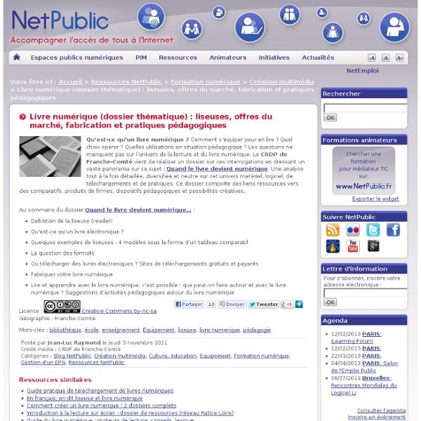 Livre numérique (dossier thématique) : liseuses, offres du marché, fabrication et pratiques pédagogiques