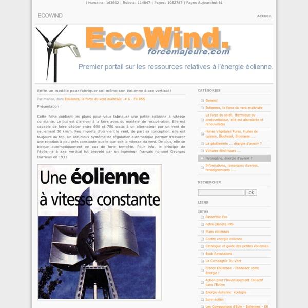 Enfin un modèle pour fabriquer soi même son éolienne à axe vertical ! - EcoWind