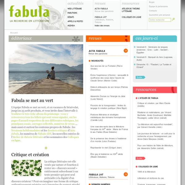 Fabula, la recherche en littérature