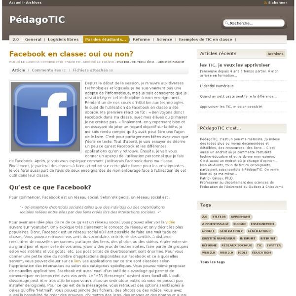 Facebook en classe: oui ou non
