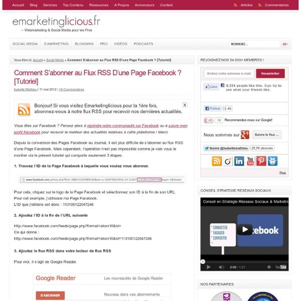 Comment S'abonner au Flux RSS D'une Page Facebook ? [Tutoriel]