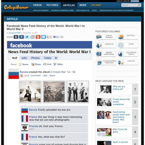 Facebook News Feed History of the World: World War I to World War II