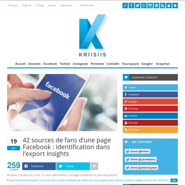 42 sources de fans d'une page Facebook : identification dans l'export Insights