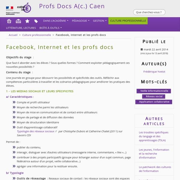Facebook, Internet et les profs docs