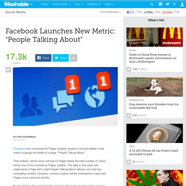 """Facebook Launches New Metric: """"People Talking About"""""""