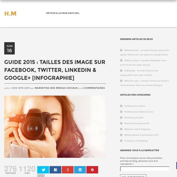 Guide 2015 : Taille des images sur les réseaux sociaux