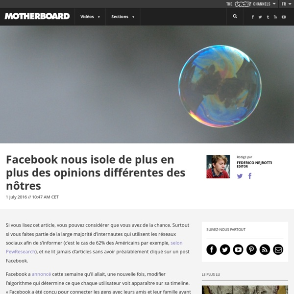 Facebook nous isole de plus en plus des opinions différentes des nôtres