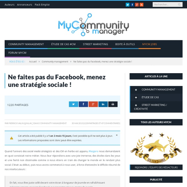 Ne faites pas du Facebook, menez une stratégie sociale !