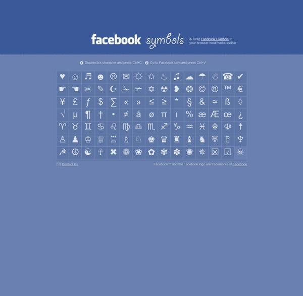Facebook Symbols, Symbols for Facebook