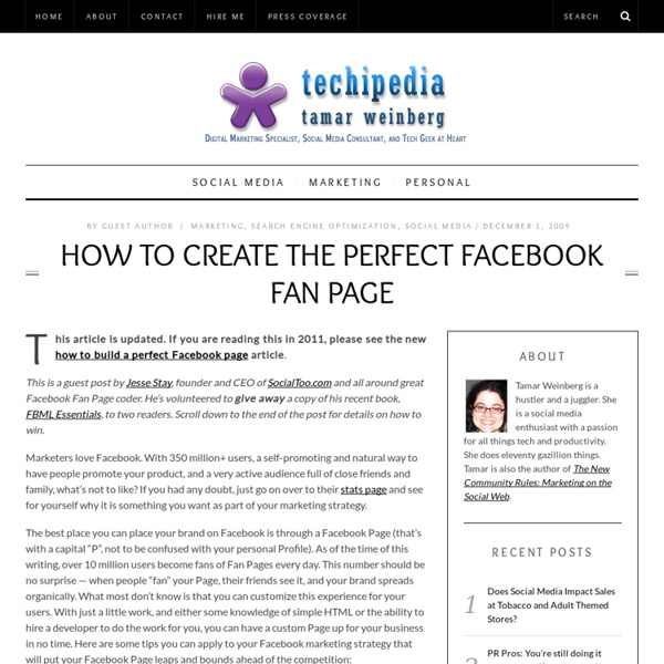 How To Create the Perfect Facebook Fan Page » Techipedia