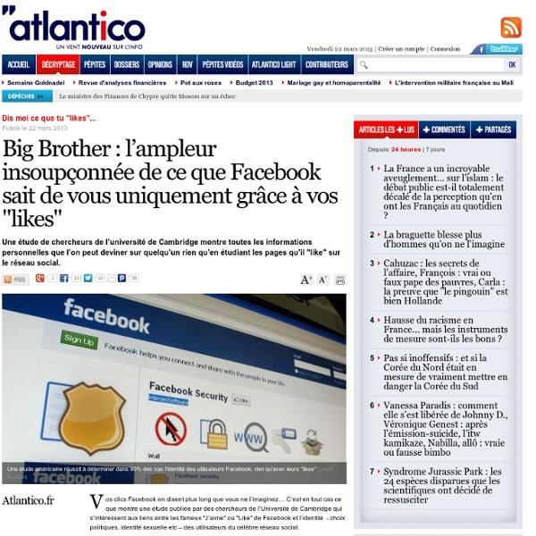 """L'ampleur de ce que Facebook sait de vous uniquement grâce à vos """"likes"""""""