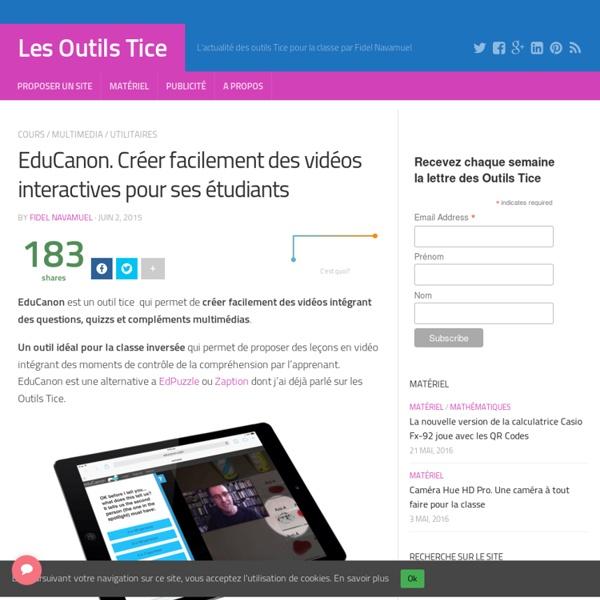 EduCanon. Créer facilement des vidéos interactives pour ses étudiants
