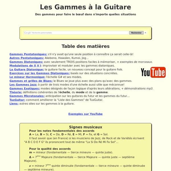 Gammes faciles à la Guitare avec accords d'accompagnement