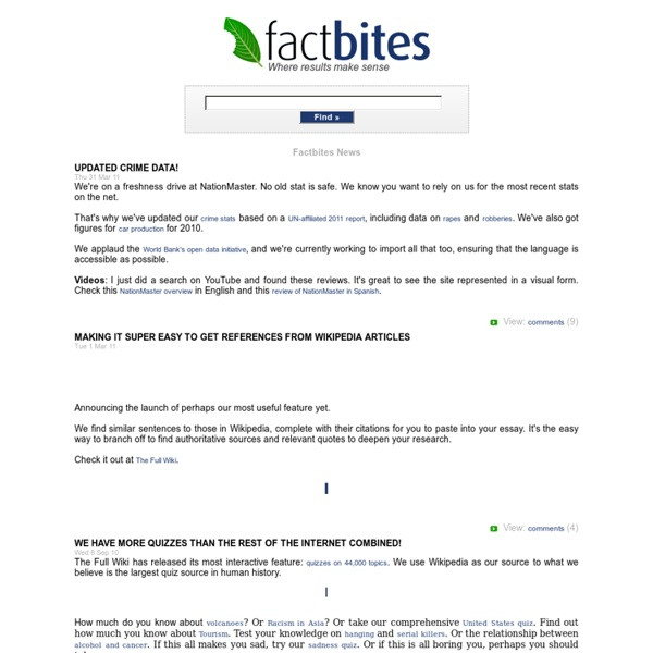 Factbites: Where results make sense